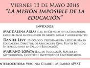 """Charla en el Colegio de Psicólogos: """"La misión imposible de la educación"""""""