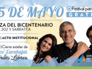 Peteco Carabajal cerrará los festejos por la Revolución de Mayo en la Plaza del Bicentenario