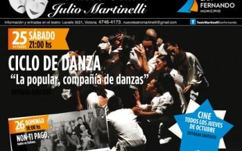 Programación de la última semana de octubre en el Teatro Martinelli