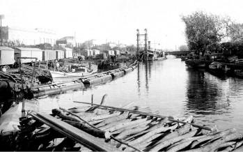 Tren cruzando el puente de hierro (Alberto Muñoz)