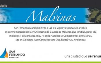 Vigilia y espectáculo artístico en conmemoración del 33° aniversario de la Gesta de Malvinas