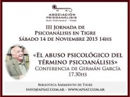 III Jornada de Psicoanálisis en la Biblioteca Sarmiento de Tigre