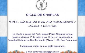 """Charla """"1816, miscelánea a un Año trascendental"""" en la Sociedad Italiana"""