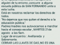 Convocan a marchar desde Sobremonte y Avellaneda hacia el Consejo Escolar en defensa de la escuela pública