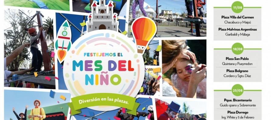 Los festejos por el 'Mes del Niño' llegan a las plazas Villa del Carmen y Malvinas Argentinas