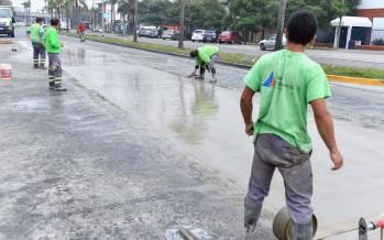 Obras de pavimentación en French y Carlos Casares