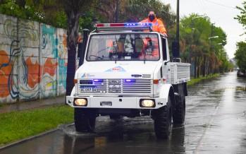 El COEM realizó tareas preventivas frente al alerta por tormentas fuertes y sudestada