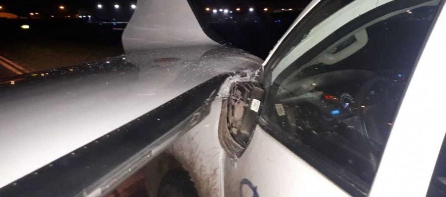 Una camioneta chocó con un avión en el Aeropuerto de San Fernando