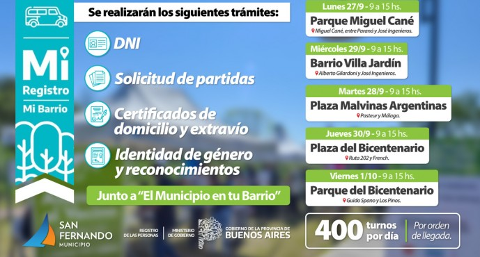 Esta semana se desplegarán operativos de DNI y trámites en distintas plazas de nuestra ciudad
